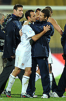 Landon Donovan of USA is congratulated by a coach at full-time. USA defeated Egypt 3-0 during the FIFA Confederations Cup at Royal Bafokeng Stadium in Rustenberg, South Africa on June 21, 2009..