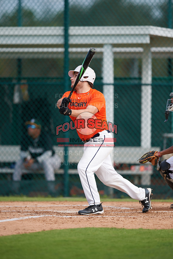 Henry Goodier (67), from Chadds Ford, Pennsylvania, while playing for the Orioles during the Baseball Factory Pirate City Christmas Camp & Tournament on December 28, 2017 at Pirate City in Bradenton, Florida.  (Mike Janes/Four Seam Images)
