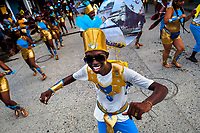 Afro-Colombian dancers of the Roma neighborhood perform during the San Pacho festival in Quibdó, Colombia, 28 September 2019. Every year at the turn of September and October, the capital of the Pacific region of Chocó holds the celebrations in honor of Saint Francis of Assisi (locally named as San Pacho), recognized as Intangible Cultural Heritage by UNESCO. Each day carnival groups, wearing bright colorful costumes and representing each neighborhood, dance throughout the city, supported by brass bands playing live music. The festival culminates in a traditional boat ride on the Atrato River, followed by massive religious processions, which accent the pillars of Afro-Colombian's identity – the Catholic devotion grown from African roots.