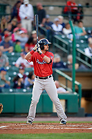 Pawtucket Red Sox designated hitter Jordan Betts (3) at bat during a game against the Rochester Red Wings on May 19, 2018 at Frontier Field in Rochester, New York.  Rochester defeated Pawtucket 2-1.  (Mike Janes/Four Seam Images)