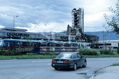 Sarajevo, Bosnia and Herzegovina. Multi - storey building destroyed by the war.