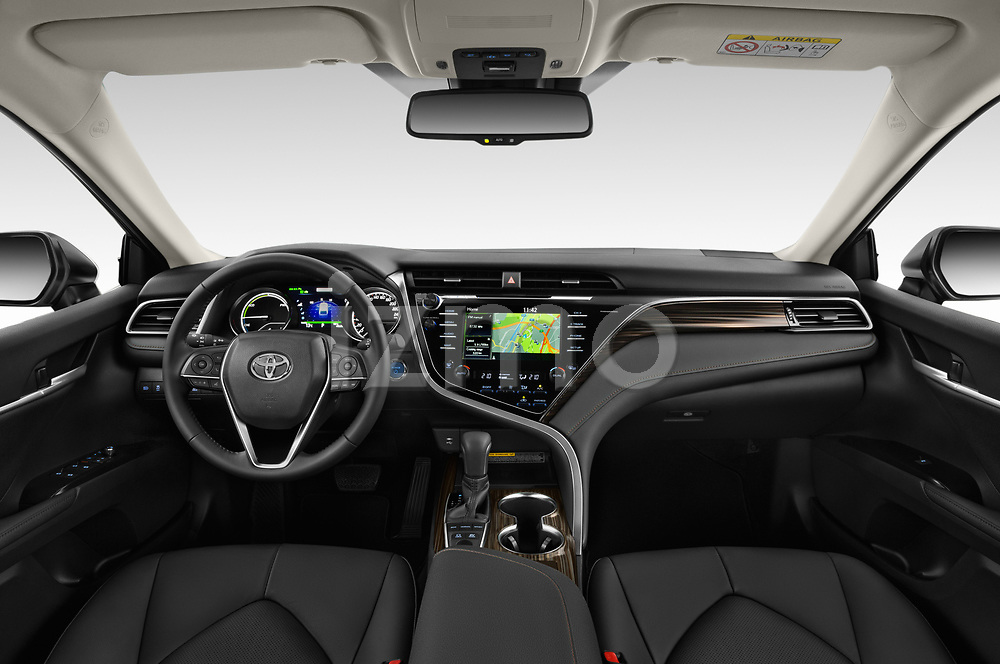 Stock photo of straight dashboard view of a 2019 Toyota Camry Premium 4 Door Sedan