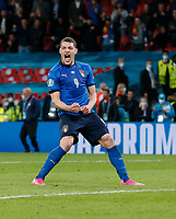 210707 -- LONDON, July 7, 2021 -- Andrea Belotti of Italy celebrates after scoring during the penalty shootout of the semifinal between Italy and Spain at the UEFA EURO, EM, Europameisterschaft,Fussball 2020 in London, Britain, on July 6, 2021.  SPBRITAIN-LONDON-FOOTBALL-UEFA EURO 2020-SEMIFINALS-ITALY VS SPAIN HanxYan PUBLICATIONxNOTxINxCHN<br /> Photo Imago/Insidefoto ITA ONLY