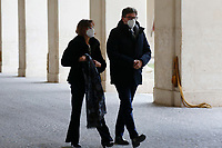 Marta Cartabia Minister of Justice and Giancarlo Giorgetti, Minister of Economic Development, arrive at Quirinale for the traditional swearing ceremony for the formation of the new Government. Rome (Italy), February 13th 2021<br /> Photo Samantha Zucchi Insidefoto