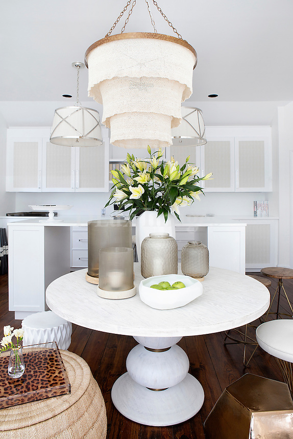 modern white round table Get A Room is a boutique in Scarsdale New York for interior design.