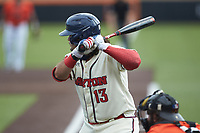 Chris Cabrera (13) of the Dayton Flyers at bat against the Campbell Camels at Jim Perry Stadium on February 28, 2021 in Buies Creek, North Carolina. The Camels defeated the Flyers 11-2. (Brian Westerholt/Four Seam Images)
