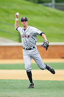 Virginia Cavaliers third baseman John La Prise (2) makes a throw to first base against the Wake Forest Demon Deacons at Wake Forest Baseball Park on May 17, 2014 in Winston-Salem, North Carolina.  The Demon Deacons defeated the Cavaliers 4-3.  (Brian Westerholt/Four Seam Images)