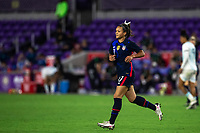 ORLANDO CITY, FL - FEBRUARY 24: Sophia Smith #17 of the USWNT runs towards the ball during a game between Argentina and USWNT at Exploria Stadium on February 24, 2021 in Orlando City, Florida.