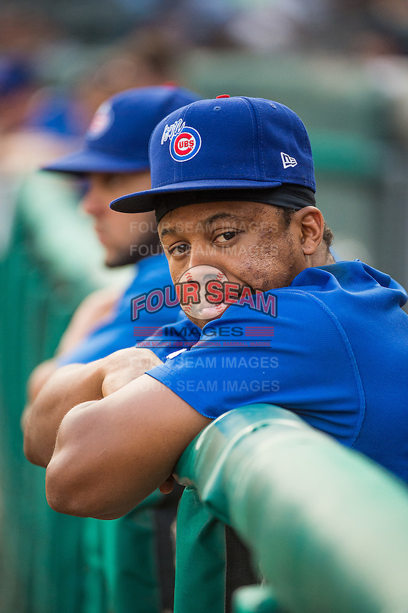 Adron Chambers (11) of the Iowa Cubs during the game against the Salt Lake Bees in Pacific Coast League action at Smith's Ballpark on August 20, 2015 in Salt Lake City, Utah. The Cubs defeated the Bees 13-2.  (Stephen Smith/Four Seam Images)