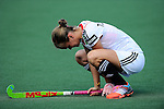 The Hague, Netherlands, June 08: Jana Teschke #4 of Germany is down in desperation after loosing to the USA team after the field hockey group match (Women - Group B) between USA and Germany on June 8, 2014 during the World Cup 2014 at GreenFields Stadium in The Hague, Netherlands. Final score 4-1 (1-0) (Photo by Dirk Markgraf / www.265-images.com) *** Local caption ***
