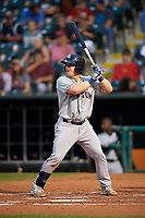 Colorado Springs Sky Sox catcher Tyler Heineman (22) at bat during a game against the Oklahoma City Dodgers on June 2, 2017 at Chickasaw Bricktown Ballpark in Oklahoma City, Oklahoma.  Colorado Springs defeated Oklahoma City 1-0 in ten innings.  (Mike Janes/Four Seam Images)