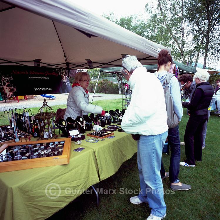 Tofino, Vancouver Island, BC, British Columbia, Canada - Artist selling Jewellery at Farmer's Market