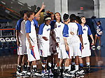 The Texas - Arlington Mavericks team gets ready before the game between the Texas State Bobcats and the UTA Mavericks held at the University of Texas at Arlington's, Texas Hall, in Arlington, Texas. UTA defeats Texas State 79 to 63