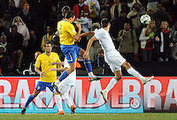 Lucio of Brazil scores the winning goal. Brazil defeated USA 3-2 in the FIFA Confederations Cup Final at Ellis Park Stadium in Johannesburg, South Africa on June 28, 2009.