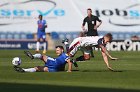 Bolton Wanderers' Jak Hickman is challenged by Colchester United's Tommy Smith<br /> <br /> Photographer Rob Newell/CameraSport<br /> <br /> The EFL Sky Bet League Two - Colchester United v Bolton Wanderers - Saturday 19th September 2020 - Colchester Community Stadium - Colchester<br /> <br /> World Copyright © 2020 CameraSport. All rights reserved. 43 Linden Ave. Countesthorpe. Leicester. England. LE8 5PG - Tel: +44 (0) 116 277 4147 - admin@camerasport.com - www.camerasport.com