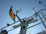 Åland and Finland Flags on Ferry Boat off Western Coast of Finland