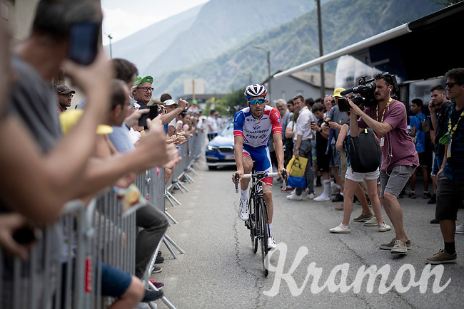 """Thibaut Pinot (FRA/Groupama-FDJ) cheered on at the race start in Saint-Jean-de-Maurienne > a stage he would abandon after 40 km due to """"a muscular lesion on his left thigh"""" <br /> <br /> Stage 19: Saint-Jean-de-Maurienne to Tignes(126km)<br /> 106th Tour de France 2019 (2.UWT)<br /> <br /> ©kramon"""