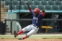 Juan Pascal (7) of the Hagerstown Suns slides into home plate during the game against the Kannapolis Intimidators at Kannapolis Intimidators Stadium on July 17, 2018 in Kannapolis, North Carolina. The Intimidators defeated the Suns 10-9. (Brian Westerholt/Four Seam Images)