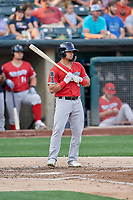 Franklin Barreto (4) of the Nashville Sounds bats against the Salt Lake Bees at Smith's Ballpark on July 27, 2018 in Salt Lake City, Utah. The Bees defeated the Sounds 8-6. (Stephen Smith/Four Seam Images)