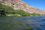 The blue sky reflects in the water of the Deschutes River.