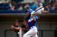 Rancho Cucamonga Quakes left fielder Logan Landon (6) follows through on his swing during a California League game against the Lake Elsinore Storm at LoanMart Field on May 20, 2018 in Rancho Cucamonga, California. Rancho Cucamonga defeated Lake Elsinore 6-2. (Zachary Lucy/Four Seam Images)