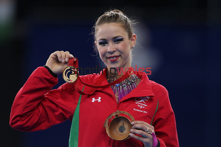 Glasgow 2014 Commonwealth Games<br /> <br /> Francesca Jones (Wales) wins gold in the women's Individual Rhythmic Gymnastics apparatus final.<br /> <br /> 26.07.14<br /> ©Steve Pope-SPORTINGWALES