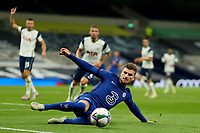 29th September 2020; Tottenham Hotspur Stadium, London, England; English Football League Cup, Carabao Cup, Tottenham Hotspur versus Chelsea; Timo Werner of Chelsea keeps the ball in play as Dier calls for offside