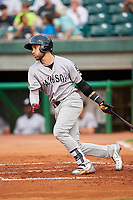 Jackson Generals right fielder Jason Morozowski (5) follows through on a swing during a game against the Chattanooga Lookouts on May 9, 2018 at AT&T Field in Chattanooga, Tennessee.  Chattanooga defeated Jackson 4-2.  (Mike Janes/Four Seam Images)