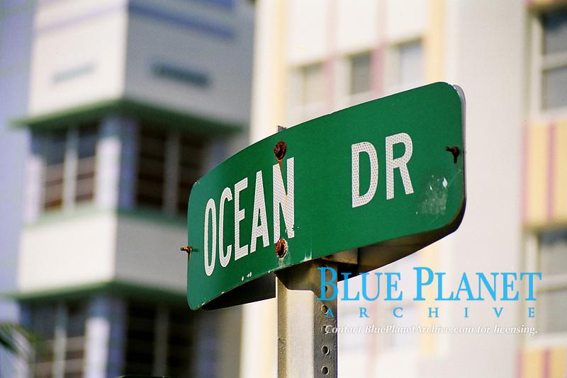 Ocean Drive street sign in Miami Beach, Florida