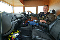 "Pictured: Kevin Nicks in the driving seat of his Fastest Shed in Pendine, west Wales, UK. Saturday 12 May 2018<br /> Re: A motorised shed has broken its own land speed record on a Welsh beach as it hit over 100mph.<br /> The Fastest Shed smashed its previous 80mph (129km/h) record for the fastest shed at a land speed event at Pendine Sands in Carmarthenshire.<br /> Its owner, gardener Kevin Nicks said it was ""marvellous"" to hit 101.043mph (160 km/h) in what he said was the only road legal shed with an engine in the world.<br /> Mr Nicks, from Chipping Norton in Oxfordshire, created his bespoke shed on wheels, which now boasts a turbo-charged 450 brake horsepower turbo engine that is more powerful than many sports cars."