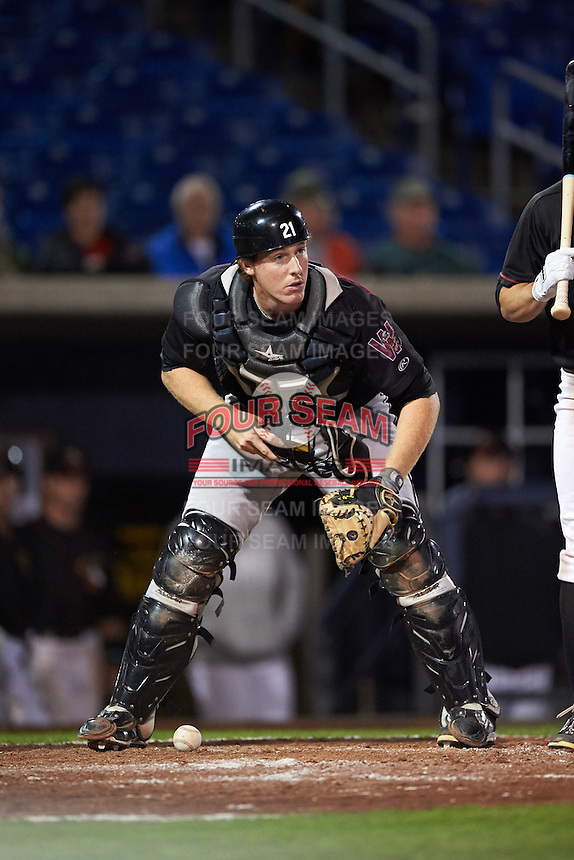 Wisconsin Timber Rattlers catcher Gregory McCall (21) during the second game of a doubleheader against the Quad Cities River Bandits on August 19, 2015 at Modern Woodmen Park in Davenport, Iowa.  Quad Cities defeated Wisconsin 8-1.  (Mike Janes/Four Seam Images)