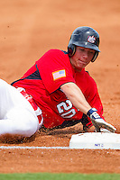 Ty Moore #20 of Babe Ruth slides into third base against PONY at the 2011 Tournament of Stars at the USA Baseball National Training Center on June 25, 2011 in Cary, North Carolina.  Babe Ruth defeated PONY by the score of 10-9. (Brian Westerholt/Four Seam Images)