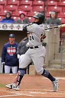 Burlington Bees third baseman Kevin Maitan (24) swings at a pitch against the Cedar Rapids Kernels at Veterans Memorial Stadium on April 14, 2019 in Cedar Rapids, Iowa.  The Bees won 6-2.  (Dennis Hubbard/Four Seam Images)