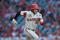 Casey Opitz (12) of the Arkansas Razorbacks hustles down the first base line against the Oklahoma Sooners in game two of the 2020 Shriners Hospitals for Children College Classic at Minute Maid Park on February 28, 2020 in Houston, Texas. The Sooners defeated the Razorbacks 6-3. (Brian Westerholt/Four Seam Images)