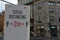 General view of a social distancing sign at Oxford Circus during the ongoing Lockdown restrictions in London on 30th December 2020