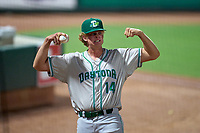 Daytona Tortugas pitcher Case Williams (14) jokes with teammates flexing in the bullpen during a game against the Palm Beach Cardinals on May 4, 2021 at Roger Dean Stadium in Jupiter, Florida.  (Mike Janes/Four Seam Images)