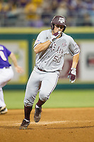 Texas A&M Aggies first baseman Hunter Melton (50) runs to third base during a Southeastern Conference baseball game against the LSU Tigers on April 24, 2015 at Alex Box Stadium in Baton Rouge, Louisiana. LSU defeated Texas A&M 9-6. (Andrew Woolley/Four Seam Images)