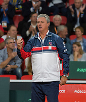 The Hague, The Netherlands, September 16, 2017,  Sportcampus , Davis Cup Netherlands - Chech Republic, Doubles : Chech captain Navratil <br /> Photo: Tennisimages/Henk Koster