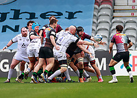 20th March 2021; Twickenham Stoop, London, England; English Premiership Rugby, Harlequins versus Gloucester; Harlequins, Gloucester; Matt Symons of Harlequins just getting the ball out of the maul and popping it out for Danny Care of Harlequins
