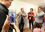 Michael Flatley plays a tune for the media during a meeting with the press at the official opening of the All-Ireland Fleadh 2017 in Ennis. Photograph by John Kelly.