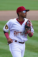 Wisconsin Timber Rattlers third baseman Yeison Coca (9) during a game against the West Michigan Whitecaps on May 22, 2021 at Neuroscience Group Field at Fox Cities Stadium in Grand Chute, Wisconsin.  (Brad Krause/Four Seam Images)