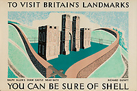 BNPS.co.uk (01202 558833)<br /> Pic: Lyon&Turnbull/BNPS<br /> <br /> Pictured: Sham Castle near Bath was featured as part of the Shell poster campaign <br /> <br /> A vast collection of vintage Shell posters have sold at auction for almost £60,000.<br /> <br /> The group of 49 sheets were sold directly from the oil giant's archives and featured some incredibly rare designs from down the years.<br /> <br /> All of the posters had previously been used in Shell advertising campaigns, dating back to between the 1920s and 1950s.<br /> <br /> Many of the colourful designed featured the slogan 'You can be sure of Shell' and list people who preferred their fuel.