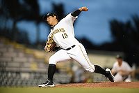 Bradenton Marauders pitcher Orlando Castro (15) delivers a pitch during a game against the Jupiter Hammerheads on April 17, 2014 at McKechnie Field in Bradenton, Florida.  Bradenton defeated Jupiter 2-1.  (Mike Janes/Four Seam Images)