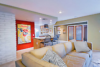 Family room in renovated Palm Springs mid-century architecture house