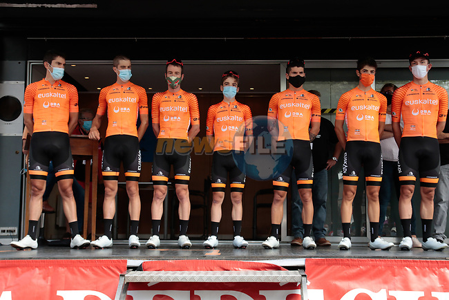 Euskaltel-Euskadi team at sign on before Stage 3 of the Route d'Occitanie 2020, running 163.5km from Saint-Gaudens to Col de Beyrède, France. 3rd August 2020. <br /> Picture: Colin Flockton | Cyclefile<br /> <br /> All photos usage must carry mandatory copyright credit (© Cyclefile | Colin Flockton)