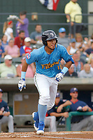 Myrtle Beach Pelicans designated hitter Jhonny Pereda (15) at bat during a game against the Potomac Nationals at Ticketreturn.com Field at Pelicans Ballpark on July 1, 2018 in Myrtle Beach, South Carolina. Myrtle Beach defeated Potomac 6-1. (Robert Gurganus/Four Seam Images)