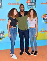 SANTA MONICA, USA. July 11, 2019: Michael Strahan, Isabella Strahan & Sophia Strahan at Nickelodeon's Kids' Choice Sports Awards 2019 at Barker Hangar.<br /> Picture: Paul Smith/Featureflash