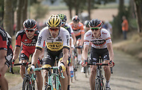 Rohan Dennis (AUS/BMC) wearing the leaders jersey (over the cobbles of the Paddestraat)<br /> <br /> 12th Eneco Tour 2016 (UCI World Tour)<br /> stage 4: Aalter - St-Pieters-Leeuw (202km)