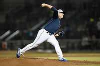 Pitcher Billy Oxford (18) of the Columbia Fireflies delivers a pitch in a game against the Charleston RiverDogs on Friday, April 5, 2019, at Segra Park in Columbia, South Carolina. Charleston won, 6-1. (Tom Priddy/Four Seam Images)