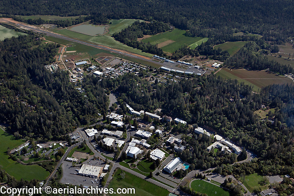 aerial photograph of Pacific Union College and Angwin-Parrett Field (2O3), Angwin, Napa County, California
